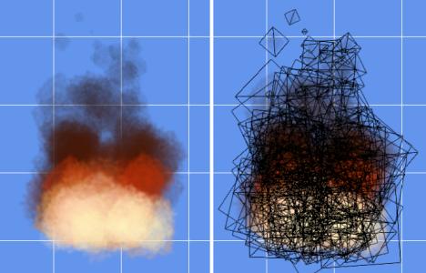 (図 2) 左は1秒間に96個のパーティクルを放出した様子。右はそれをワイアーフレーム表示したもの
