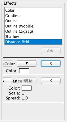 (図 2) Effects の項目に新たに Distance Field エフェクトを追加した様子